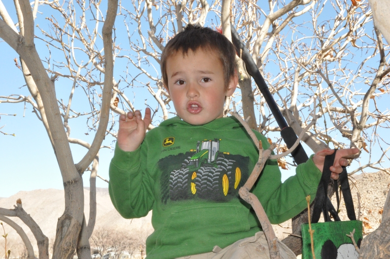 Elias telling me all about his favorite climbing tree.