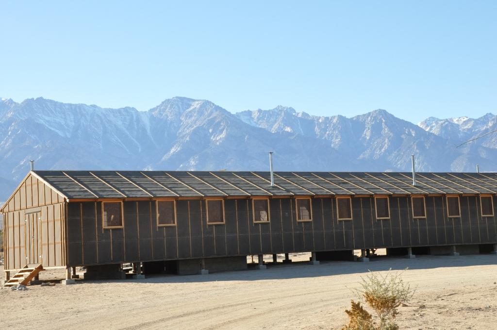 Replica of tarpaper barracks