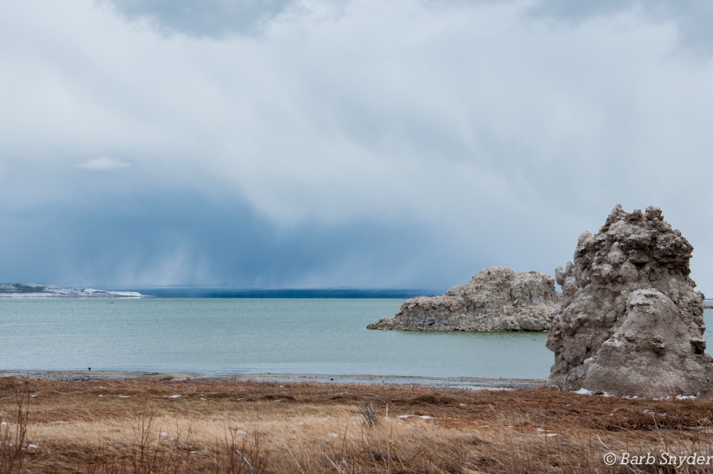 Mono Lake Tufa with snow falling across the lake.