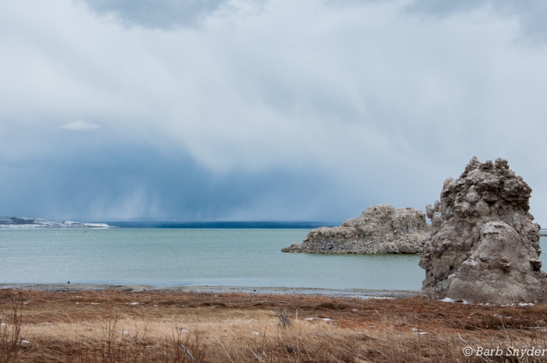 Mono Lake Tufa with snow falling across the lake.