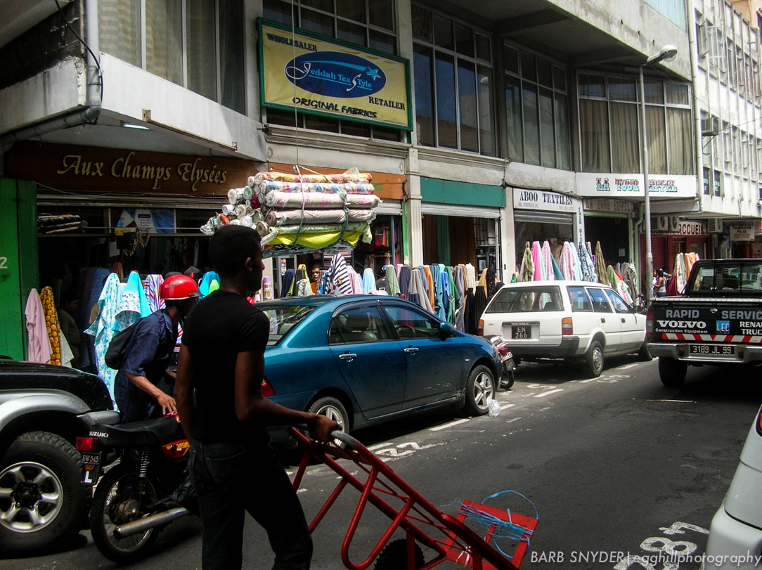 Fabric being delivered to the stores below.