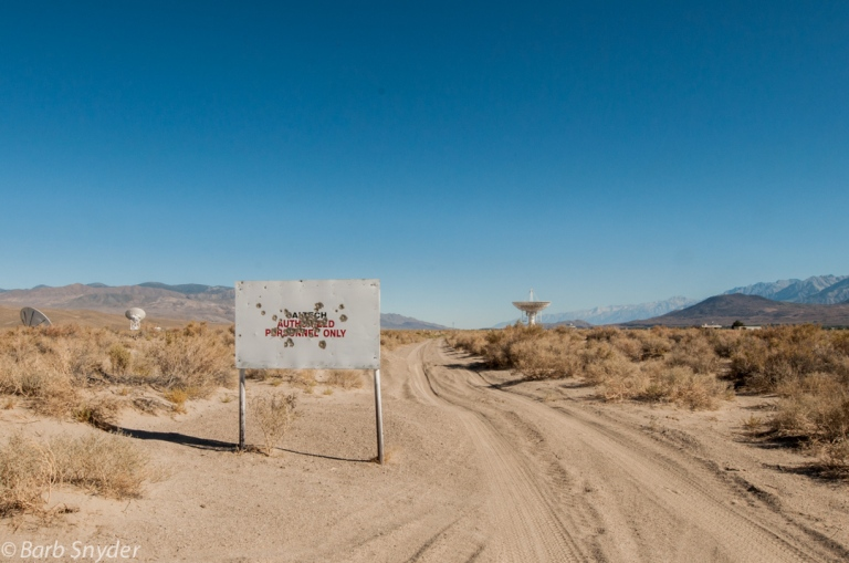 Can you believe that people would use this sign as target practice? Look how close the telescopes are!