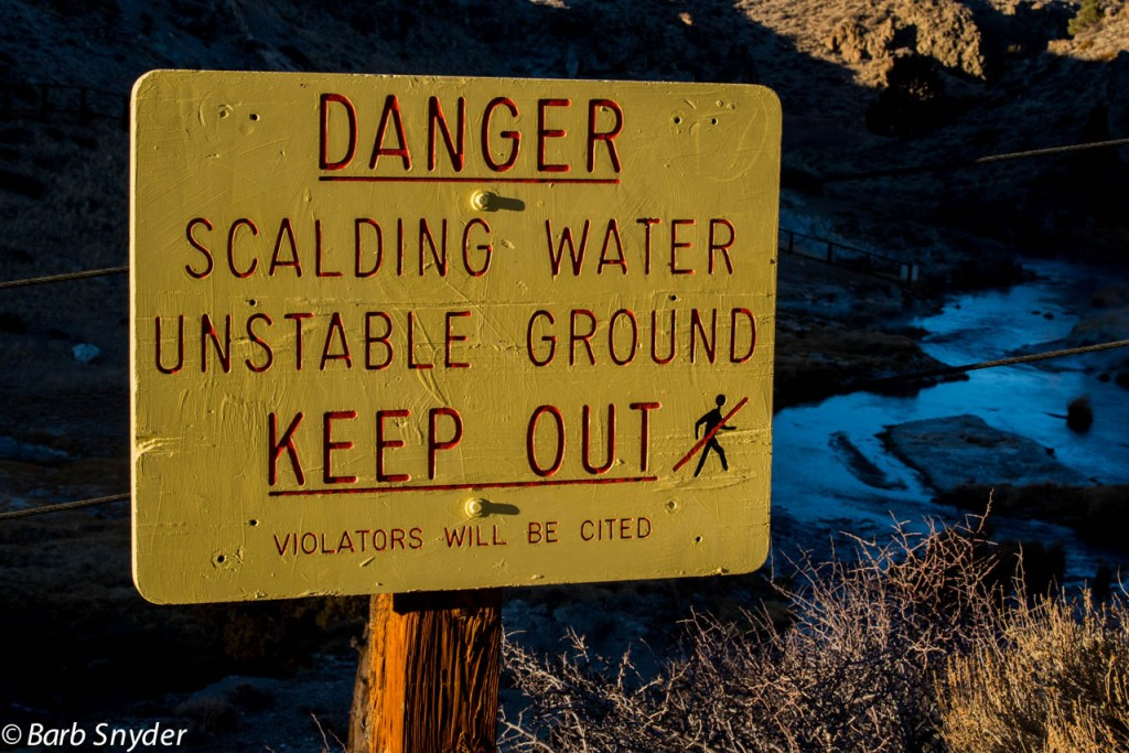 Lots of signs like this and another that said 14 people had lost their lives here or been badly scalded. Despite the warnings all over, the second day I was there with the kids, there were fisher people right beside some of the bubbling pools.