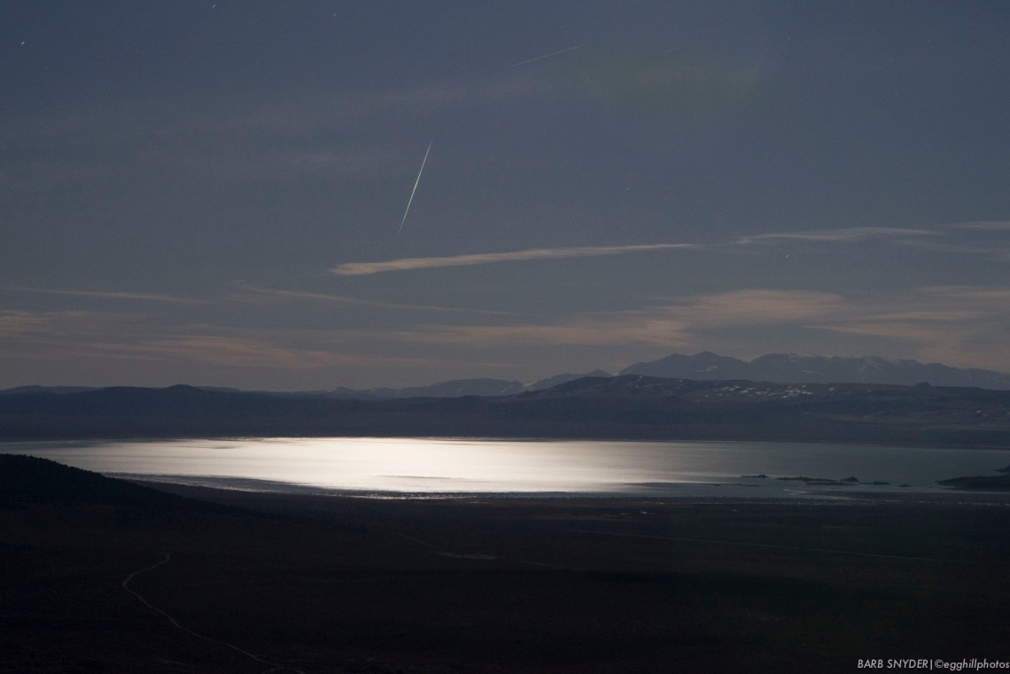 A falling star over Mono Lake. Traveling from Coleville (after helping to hang a photography show from several members of the local group).